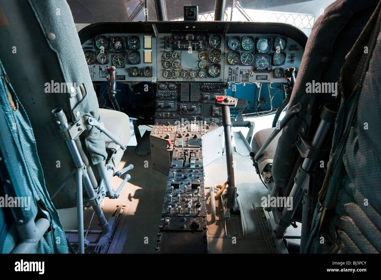 Japan, Kobe, Maritime Museum. Interior of cockpit of Chinnock helicopter - Stock Image