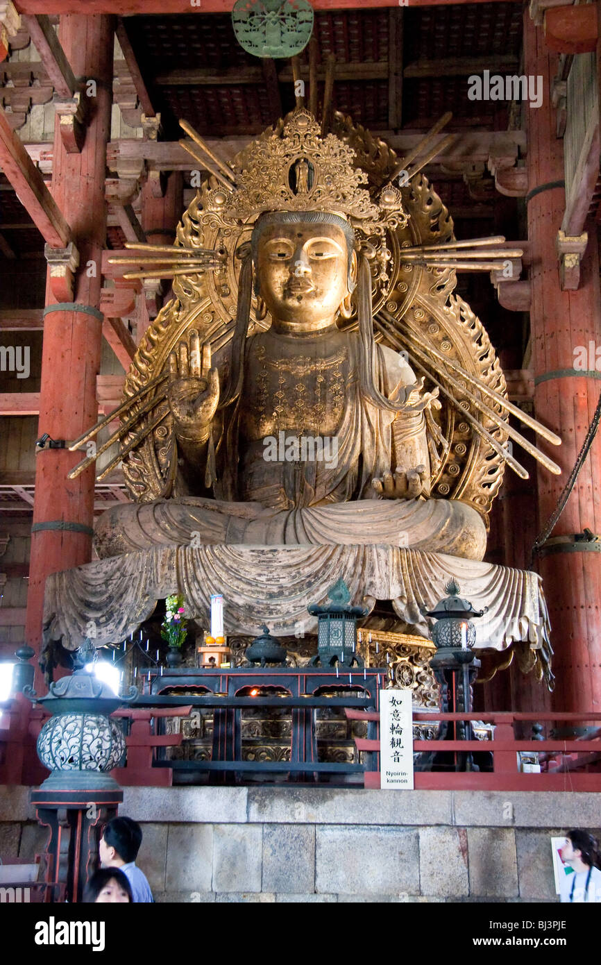 Japan, Nara, Todai-ji temple. Niyorin Kannon Bosatsu statue in the Daibutsuden, great Buddha hall Stock Photo