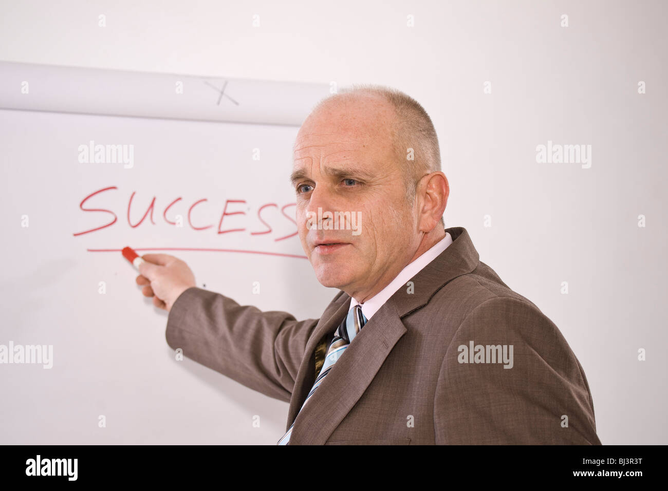 manager standing in front of a flip chart labelled success BJ3R3T