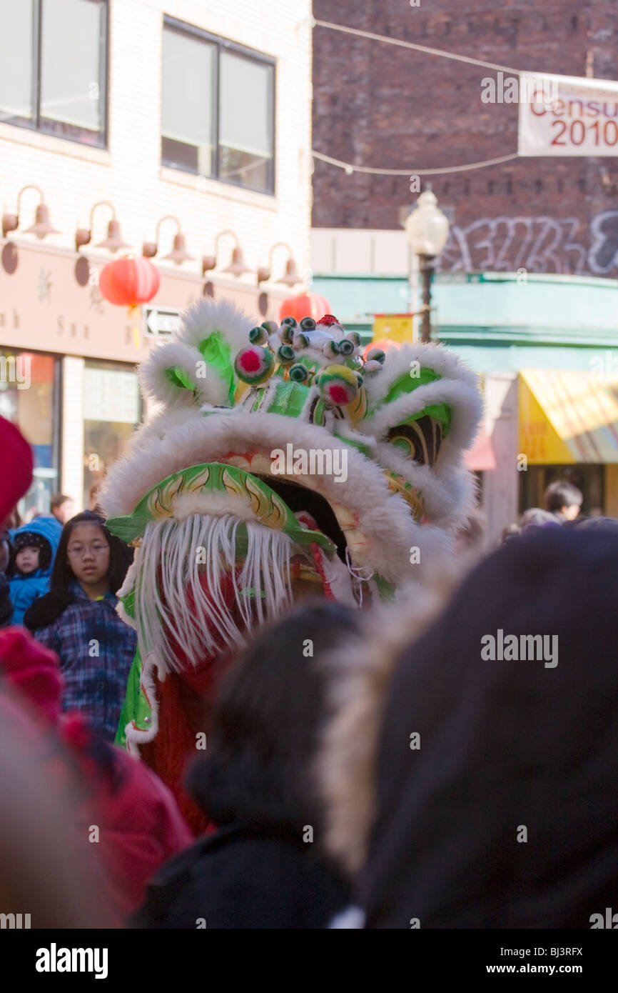 Wushi. Chinese New Year Celebration. Lu Bei Lion growls to scare away demons in Chinatown. - Stock Image
