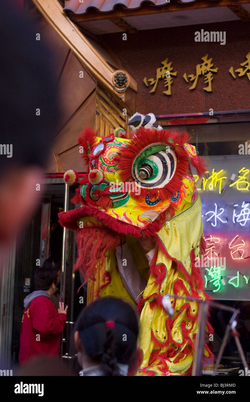 Wushi. Chinese New Year Celebration. Lu Bei Lion dances in Boston's Chinatown. - Stock Image