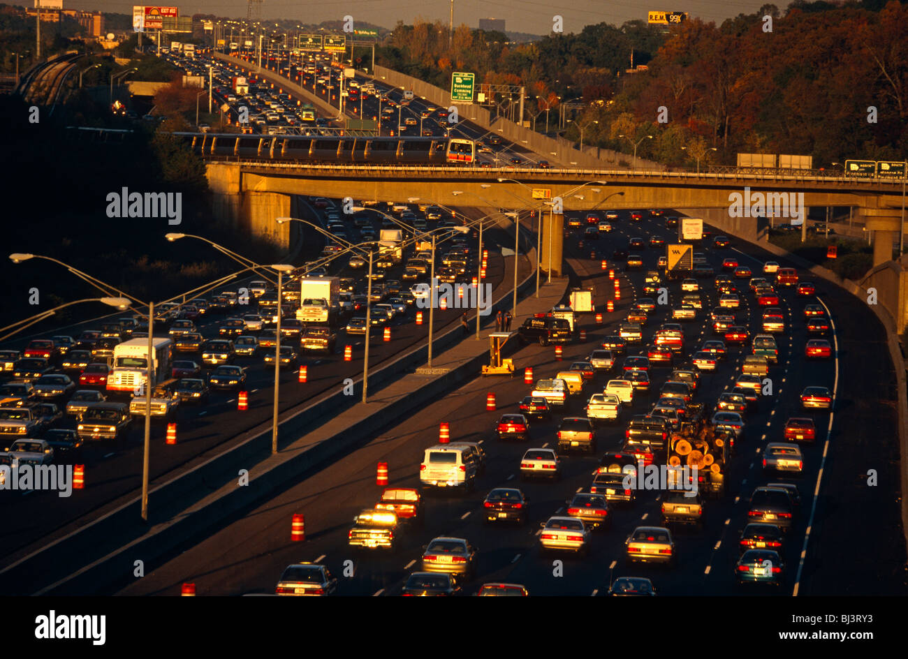 Afternoon rush-hour traffic near the junction of the 400 to Buckhead, Atlanta and 401 highway. - Stock Image