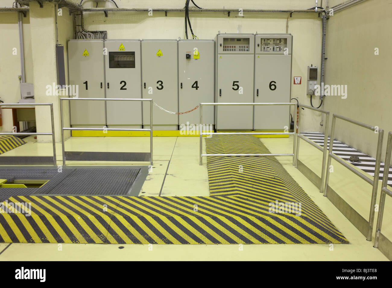 Power cabinets which are numbered 1 to 6 at European Space Agency's Europropulsion Ariane 5 rocket Booster Integration - Stock Image