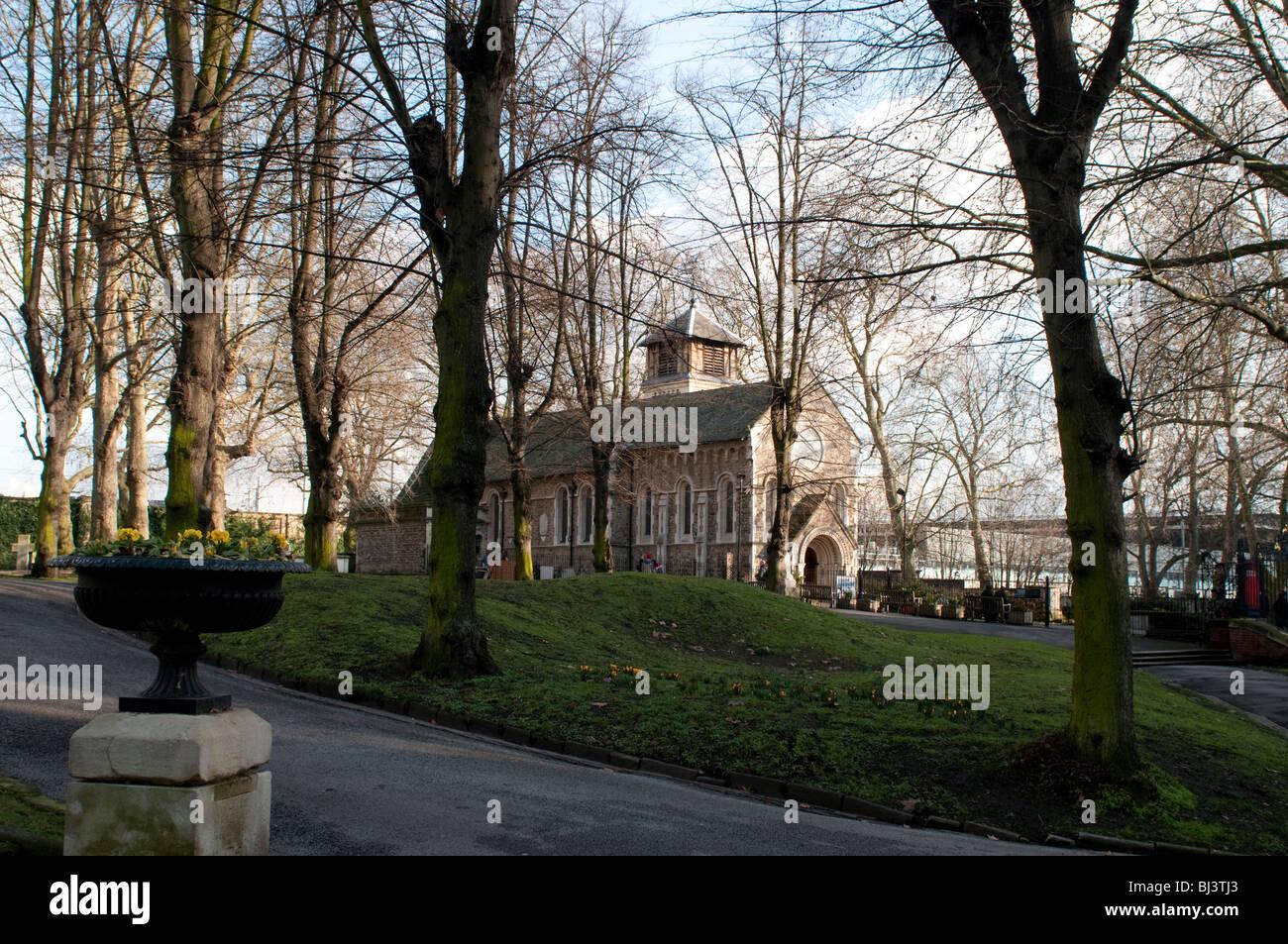 St Pancras Old Church, St Pancras Gardens, London Borough of Camden, UK - Stock Image