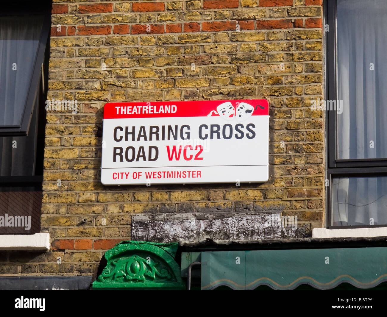 Charing Cross Road street sign City of Westminster Theatre land - Stock Image