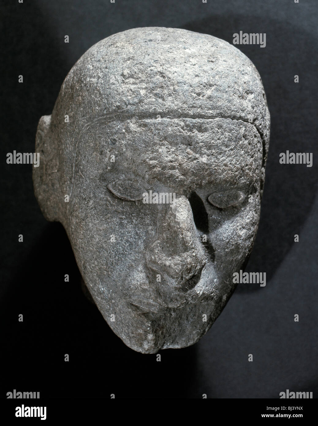 Aztec stone male head, Mexico, 1350-1521. Artist: Werner Forman - Stock Image