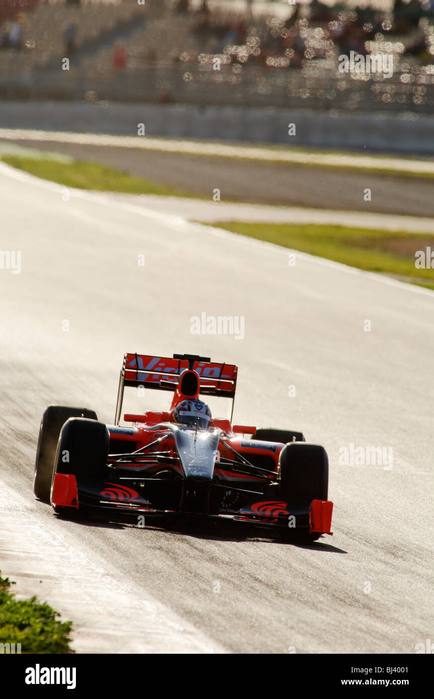 Timo GLOCK (GER) in the Virgin VR-01 race car during Formula 1 Tests - Stock Image