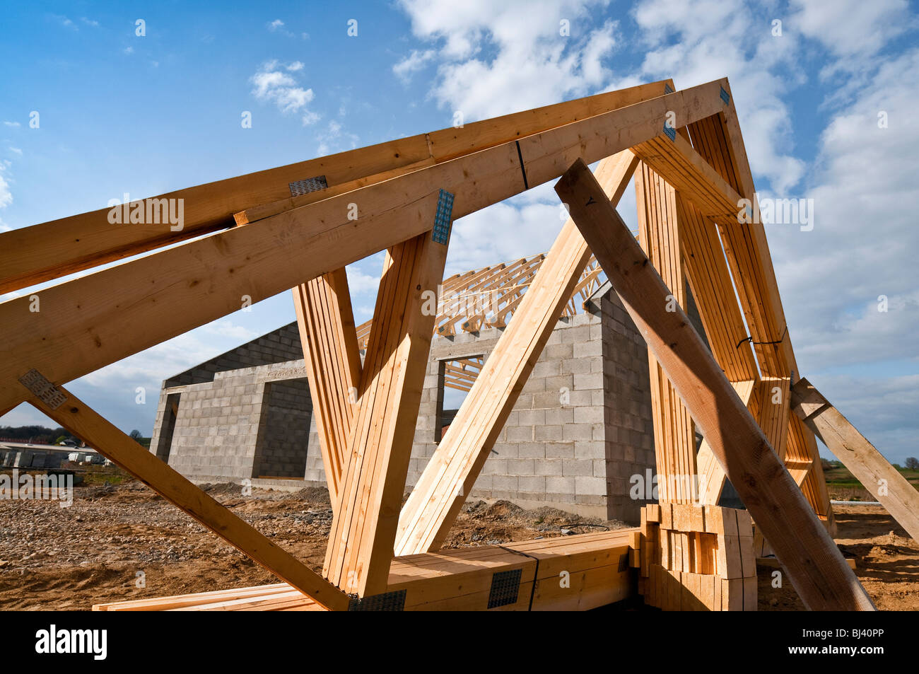 Prefabricated roof trusses stock photos prefabricated for Roof trusses