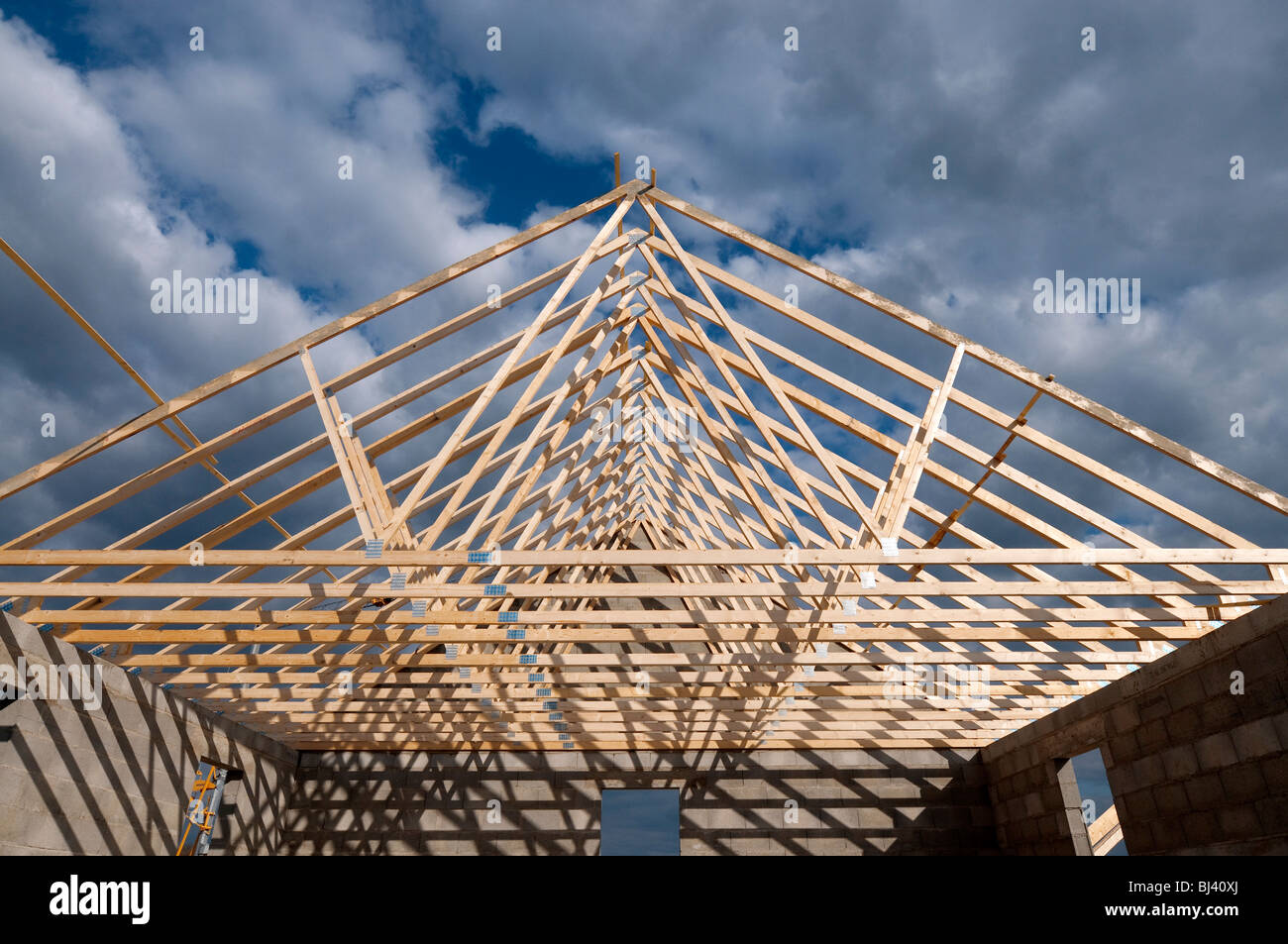 Prefabricated Timber Roof Trusses On Building Site France Stock Photo Alamy