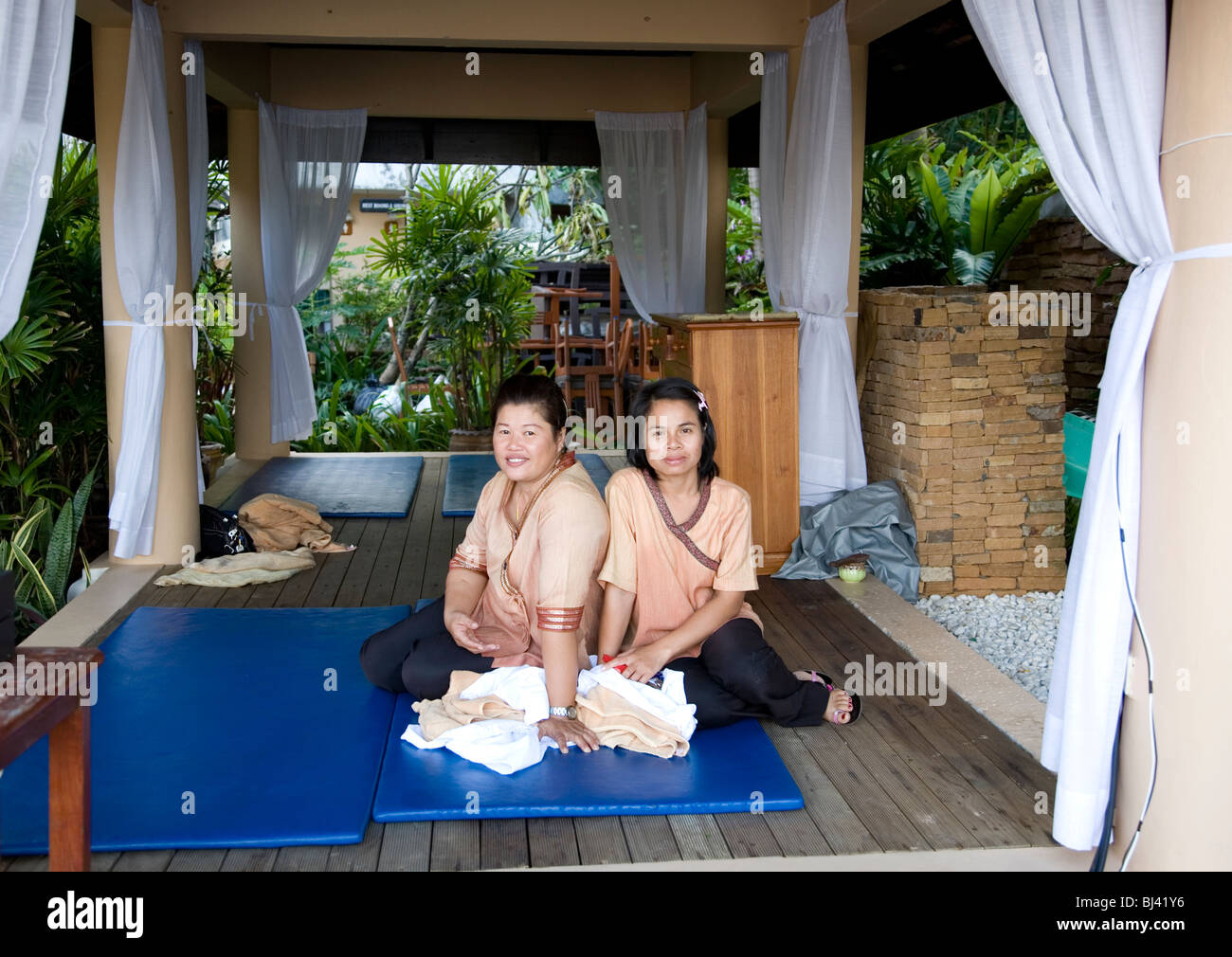 Two masseuse at Karon Beach Resort in Phuket - Thailand Stock Photo