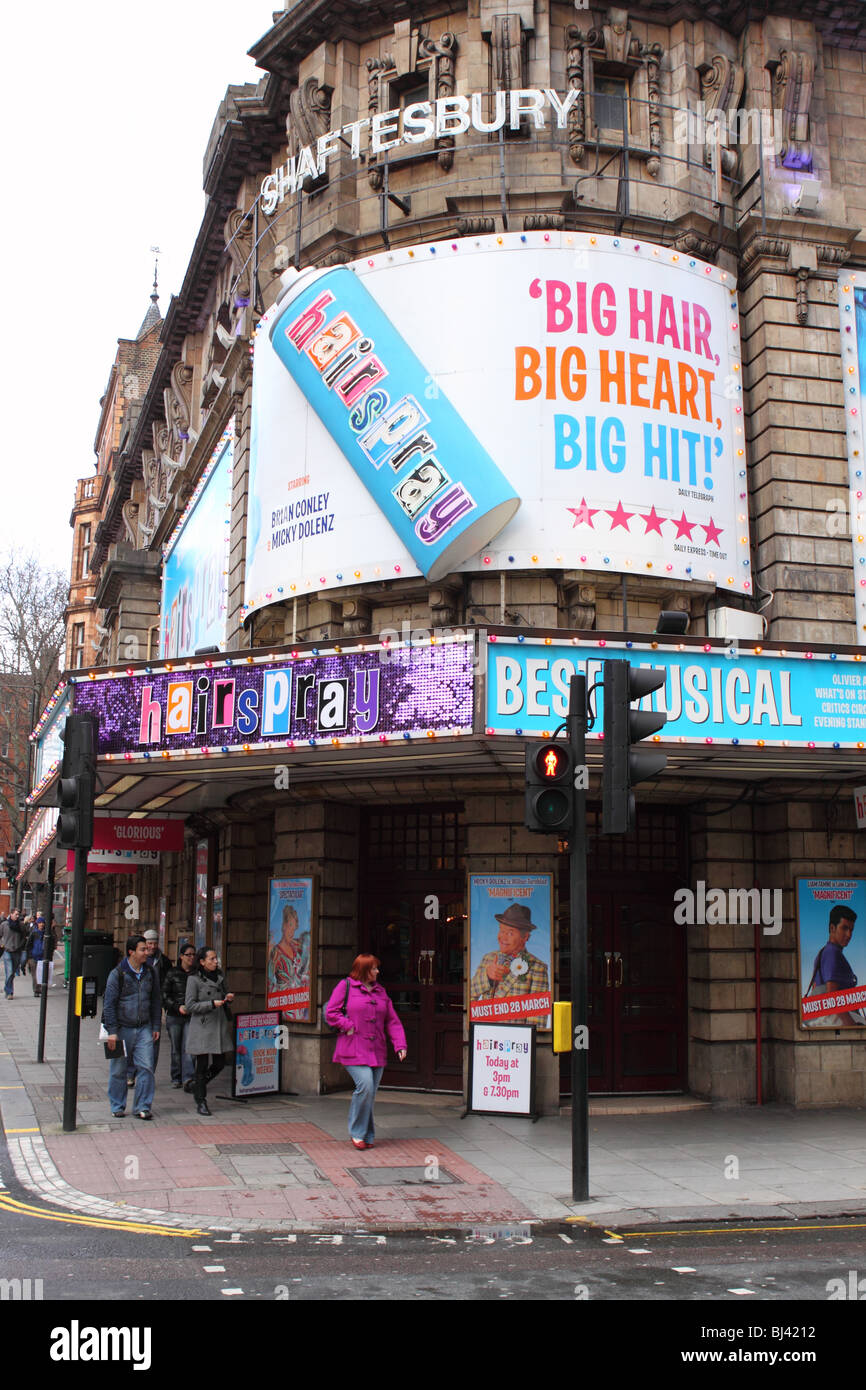 London Shaftesbury Theatre showing the musical show Hairspray in Shaftesbury Avenue 2010 - Stock Image