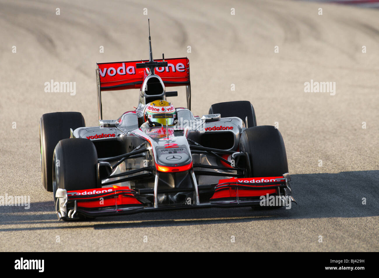 Lewis HAMILTON (GB) in the McLaren-Mercedes MP4-25 race car during Formula 1 Tests - Stock Image