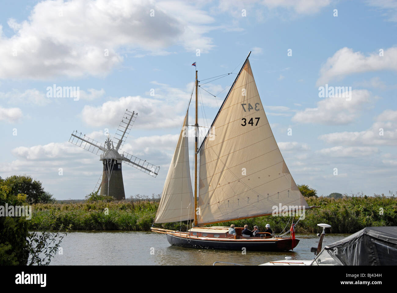Private yacht on River Bure, Norfolk, England - Stock Image