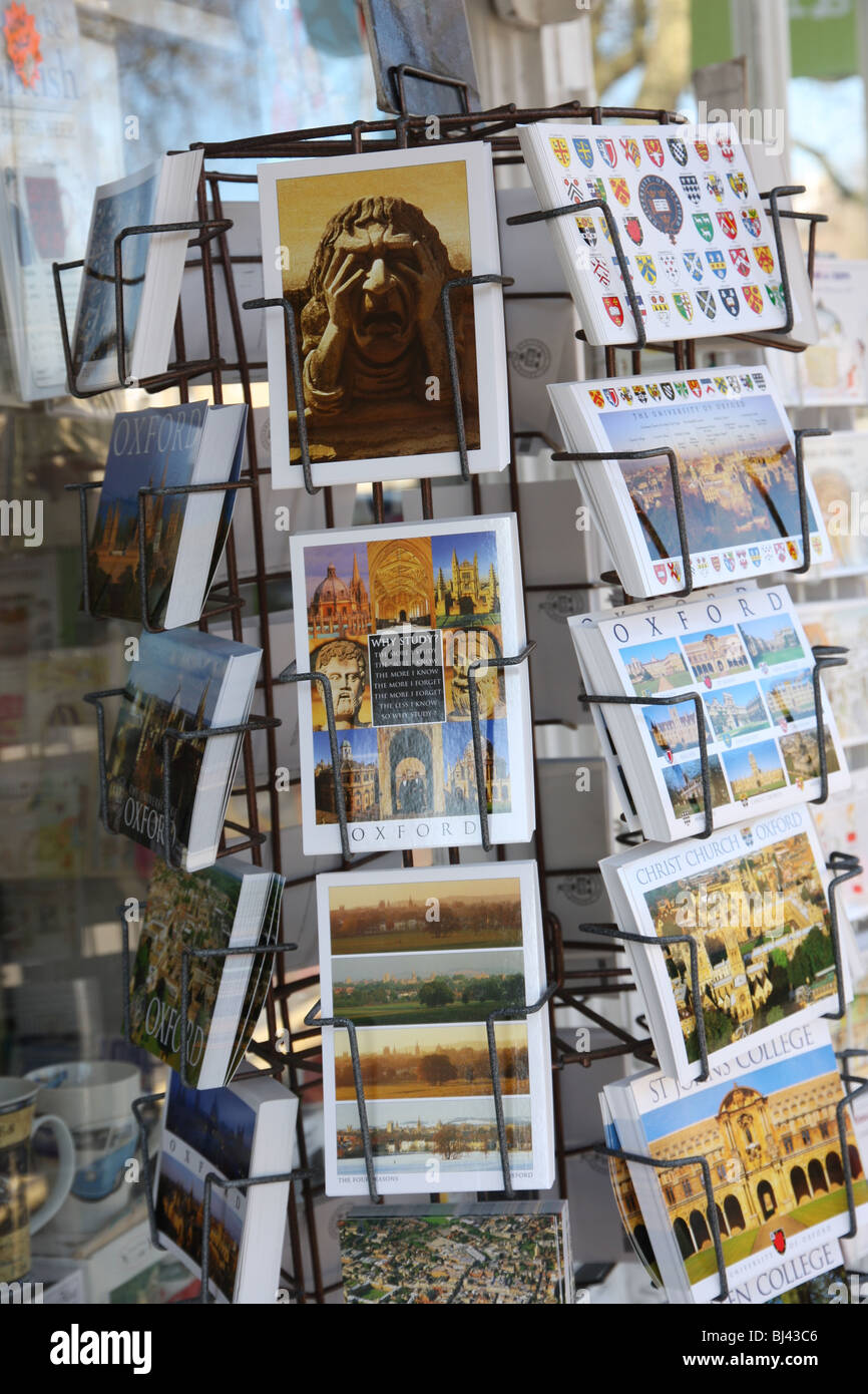 Postcards on sale outside an Oxford newsagents. - Stock Image