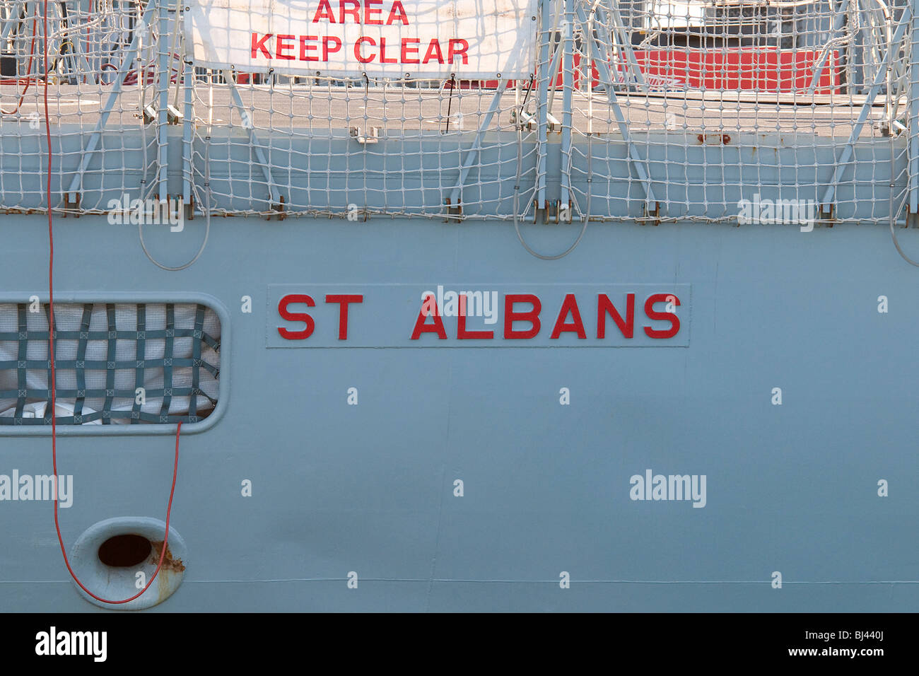 Name Plate on HMS St Albans British Navy Ship - Stock Image