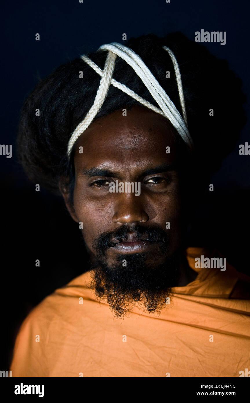 Portrait of a Sadhu. - Stock Image