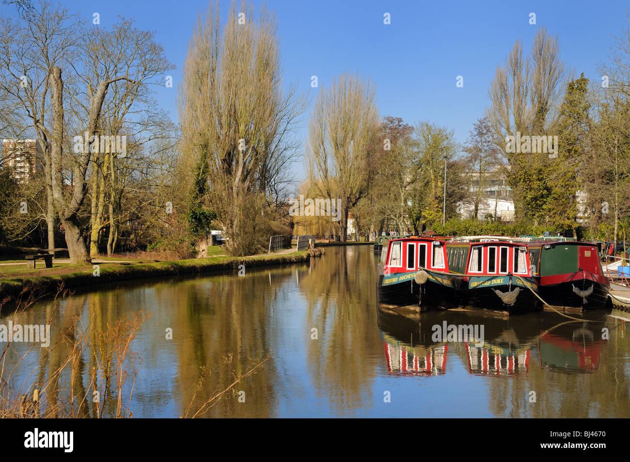 River Wey navigation,Guildford Surrey UK - Stock Image