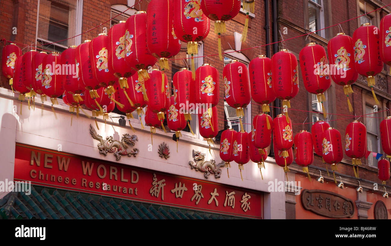 Chinese New Year decorations in China Town London UK - Stock Image