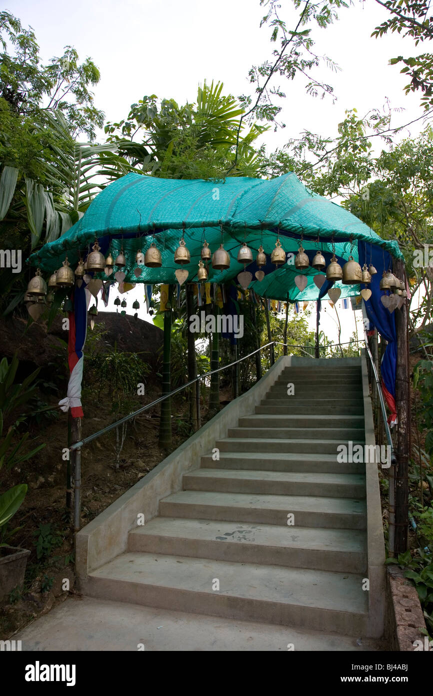 Entry to flight of stairs to Big Buddha of Phuket - Stock Image