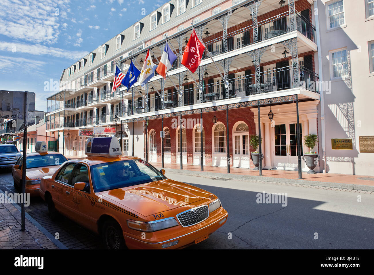 Taxi Cabs In Front Of The Inn On Bourbon Hotel Bourbon Street Stock