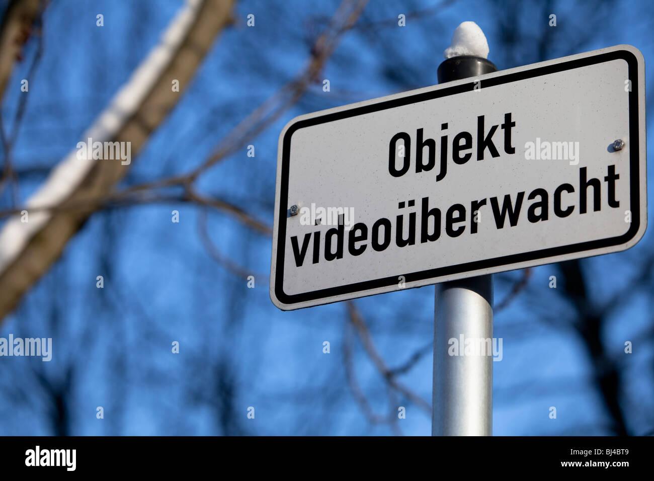 Sign 'Objekt videoueberwacht', CCTV used here - Stock Image
