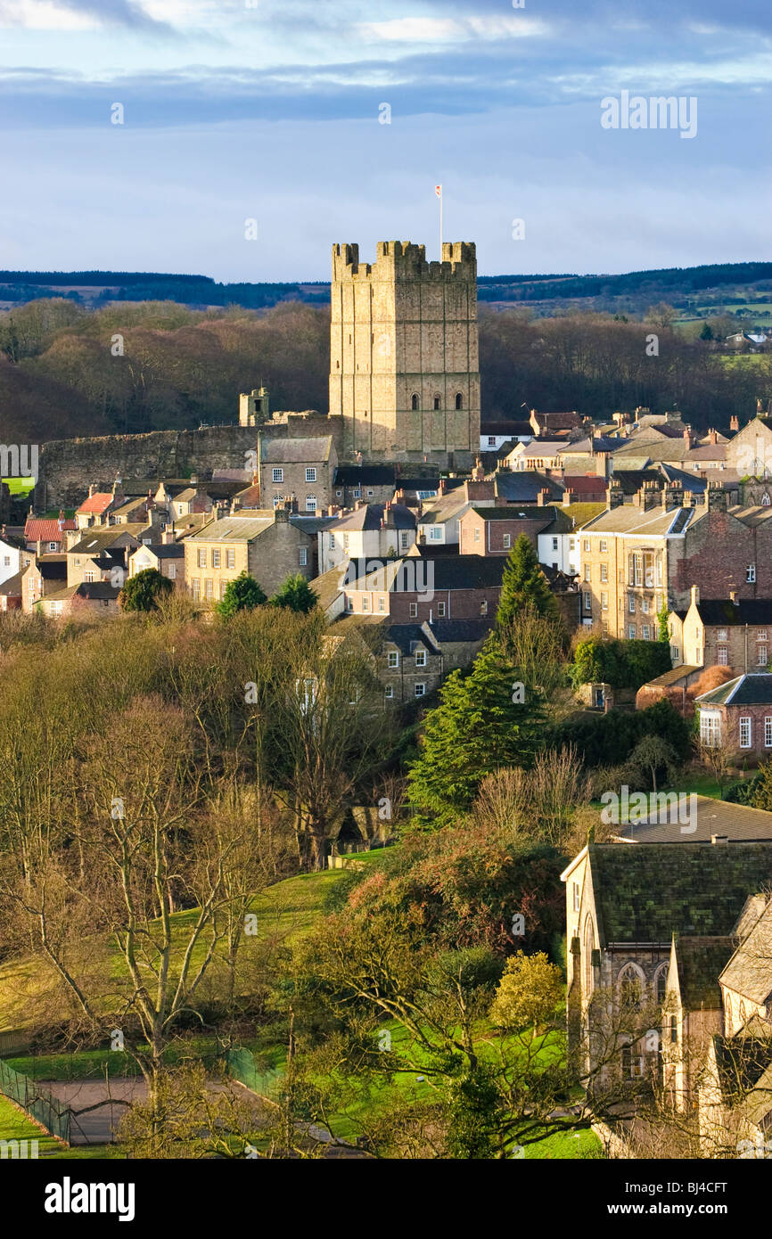 Richmond Castle and Richmond town, North Yorkshire, England, UK Stock Photo