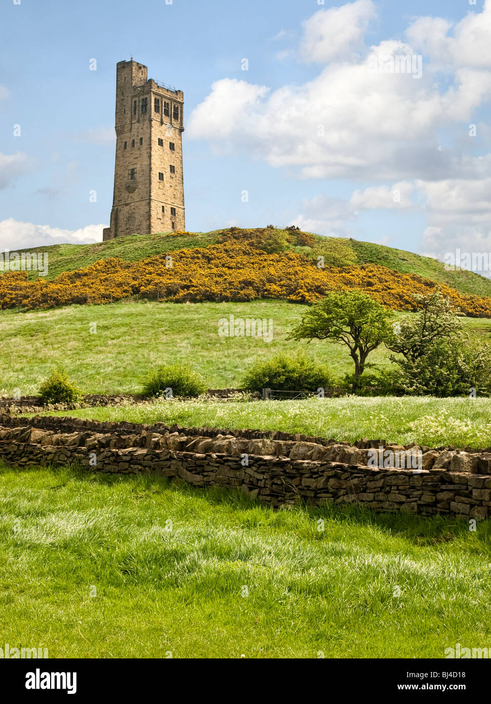 The Victoria Jubilee Tower, Castle Hill, Huddersfield, West Yorkshire, UK - Stock Image
