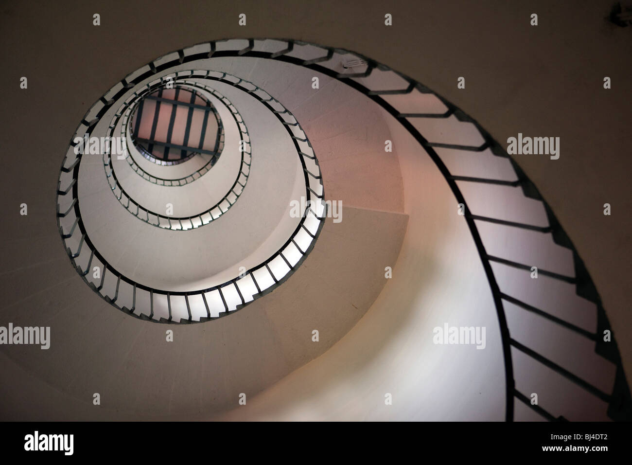 India, Kerala, Kollam, Lighthouse, interior view looking up staircase Stock Photo