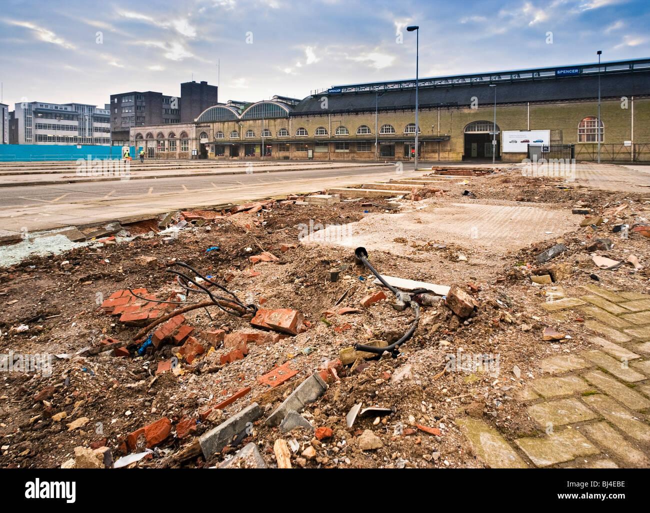 Derelict waste land building site, UK - Stock Image