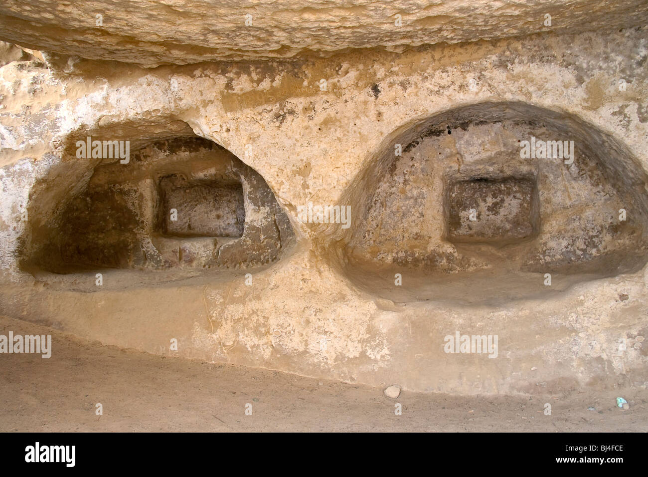 Prehistoric cave dwellings in Matala, Crete, Greece, Europe - Stock Image