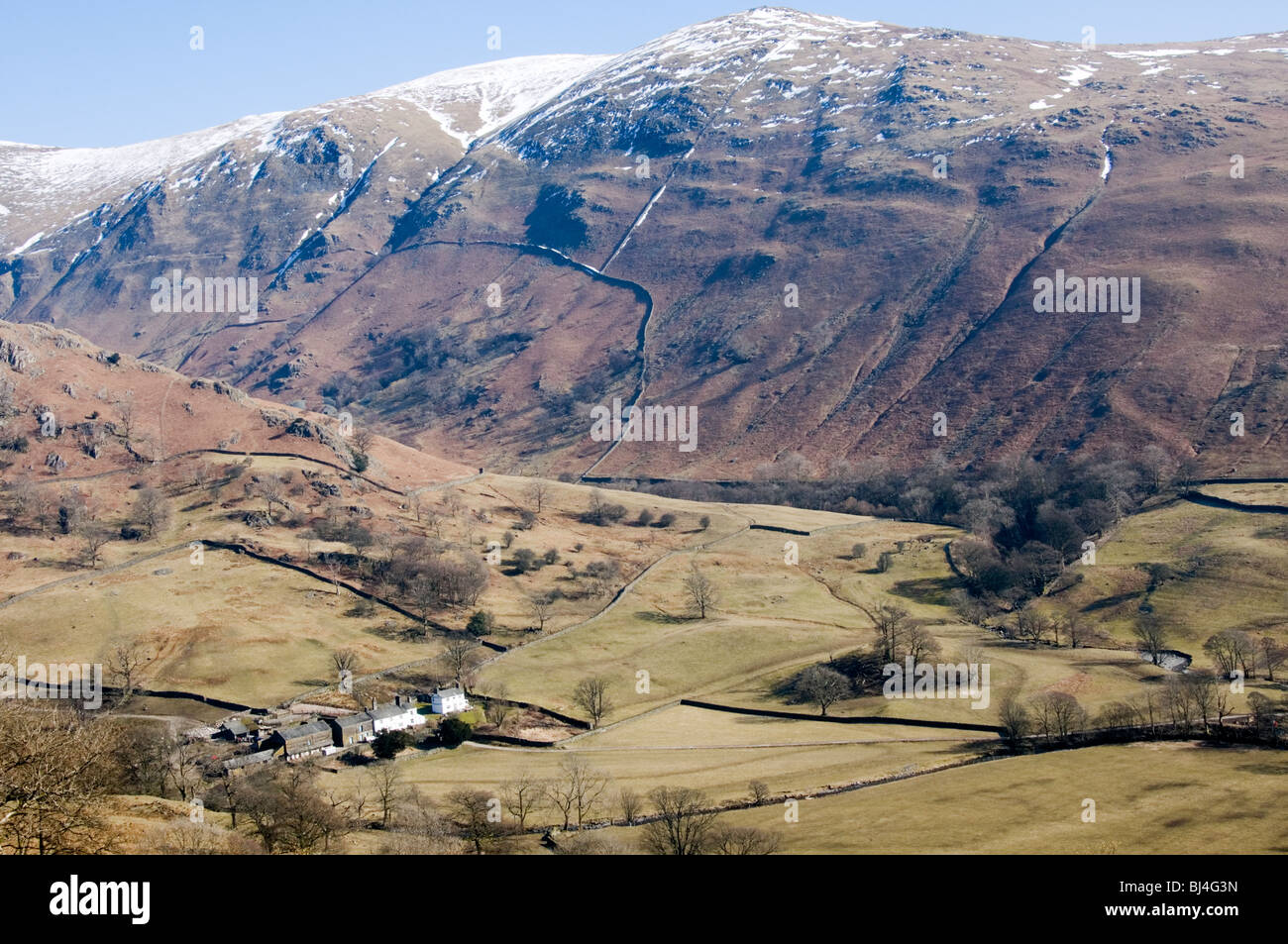Troutbeck Park Farm, Cumbria in the English Lake District was owned by Beatrix Potter.   PHOTOGRAPHED FROM PUBLIC - Stock Image