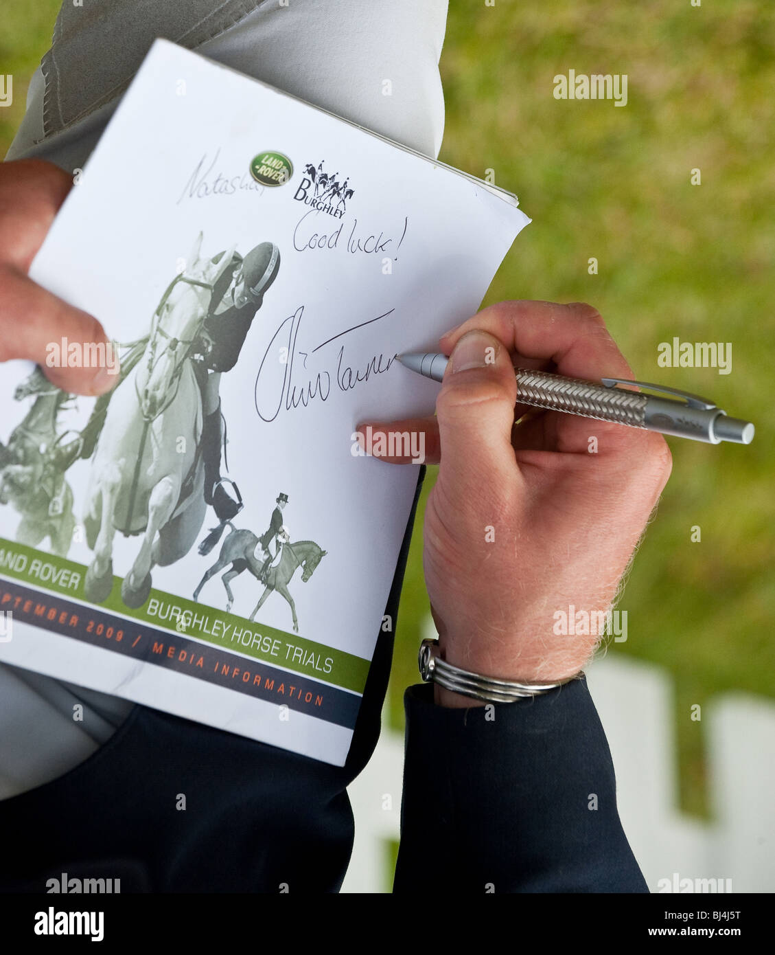 Oliver Townend Signing Autographs after his win at the Landrover Burghley Horse  trials - Stock Image