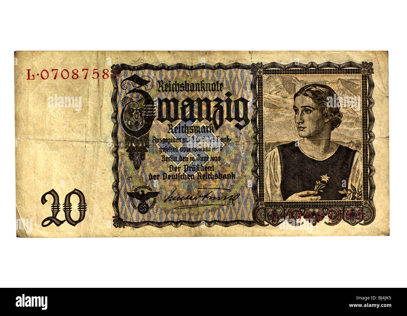 Front of a Reichsbanknote bill of the Central Bank over 20 marks, Berlin, Germany, June 16th 1939 Stock Photo
