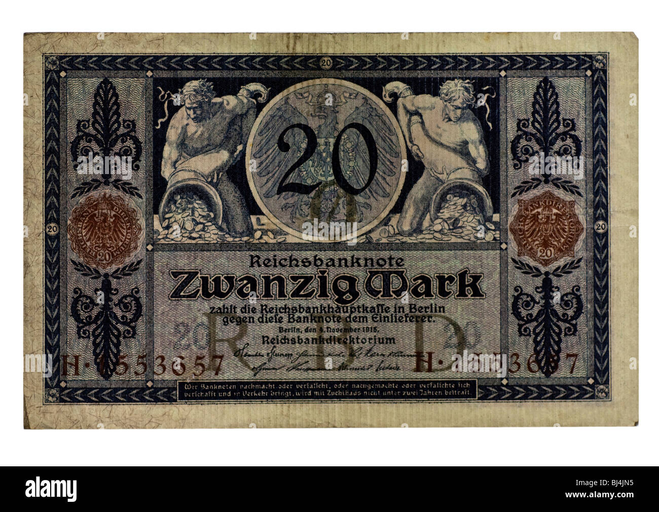 Front of a Reichsbanknote bill of the Central Bank over 20 marks, Berlin, board of the Central Bank of Germany, Stock Photo