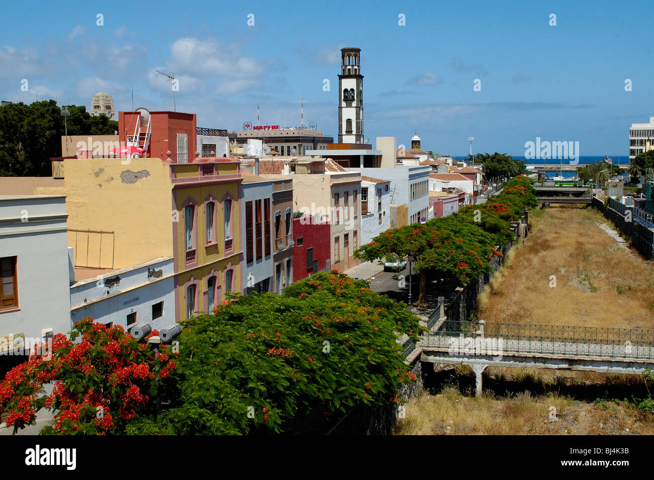 Spain, Canary Islands, Tenerife Santa Cruz, Barranco de Santos and churchtower N.S. de la Concepcion Stock Photo
