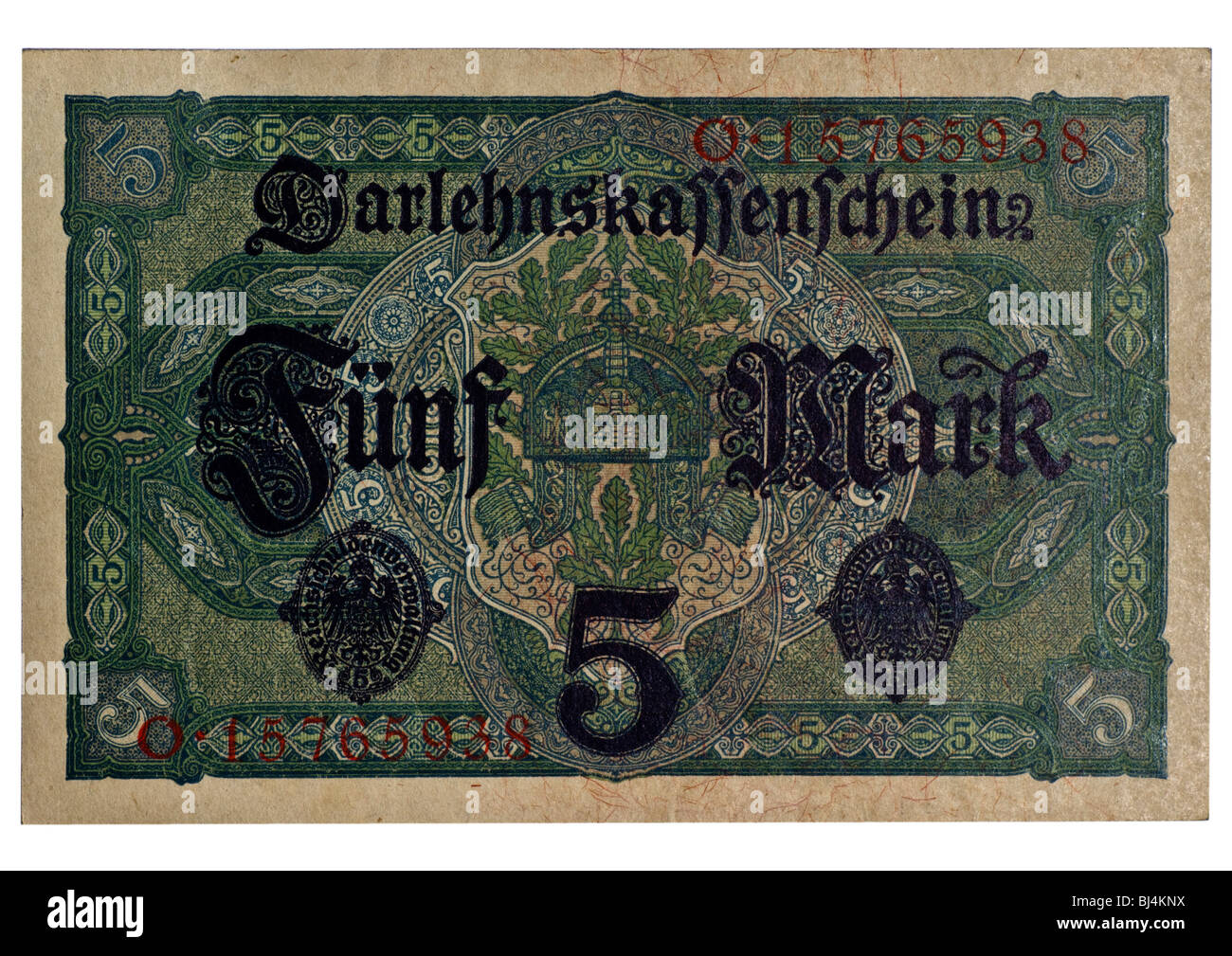 Back of the Loan Society banknote over 5 marks of the National Debt Office, Berlin, Germany, August 1st 1917 - Stock Image