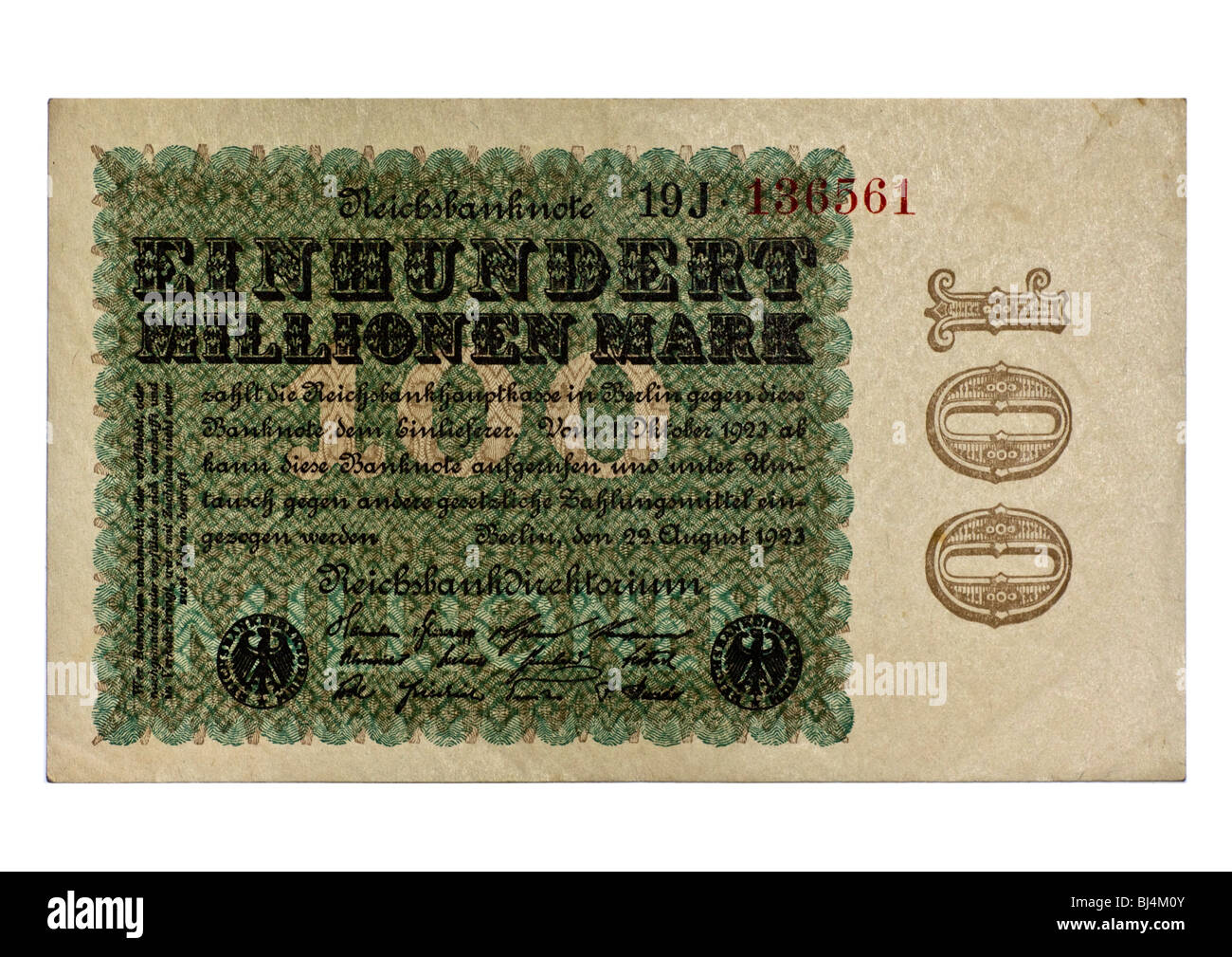 Front of a Reichsbanknote bill of the Central Bank over 100 million marks, Berlin, Germany, August 22nd 1923 Stock Photo