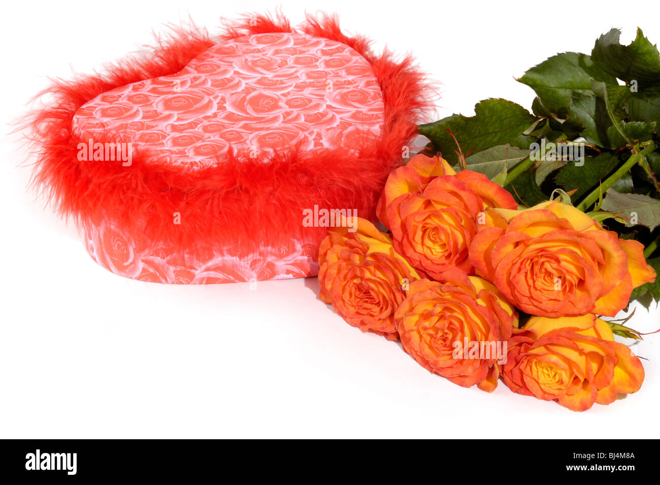 Hear shaped gift box and bunch of orange roses isolated on white background Conceptual still life Stock Photo