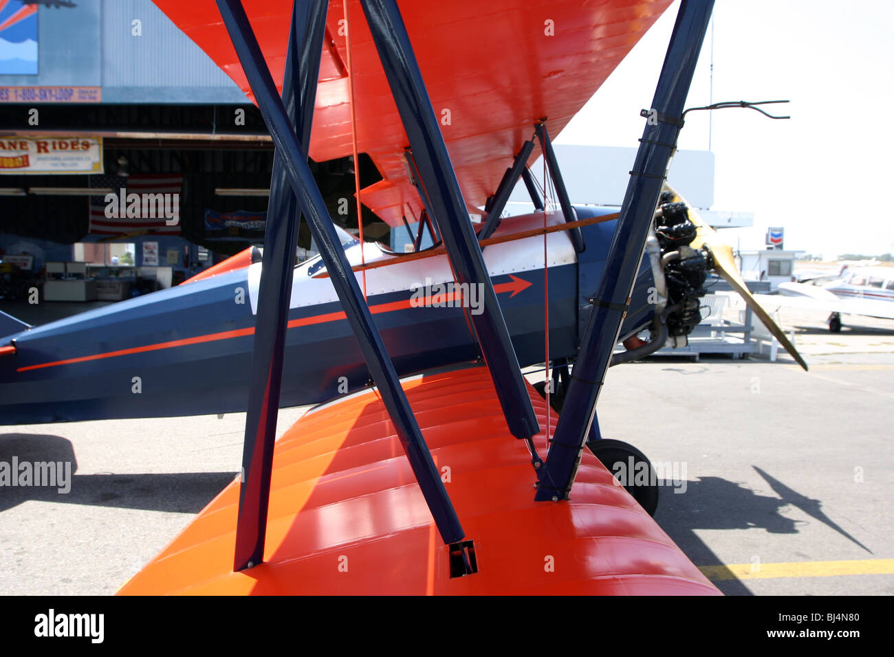 Side view of Biplane. To be sold for editorial use only. - Stock Image