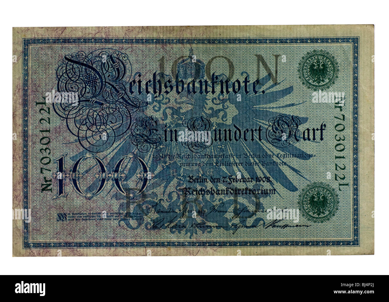 Front of a Reichsbanknote bill of the Central Bank over one hundred marks, Berlin, board of the Central Bank of Stock Photo
