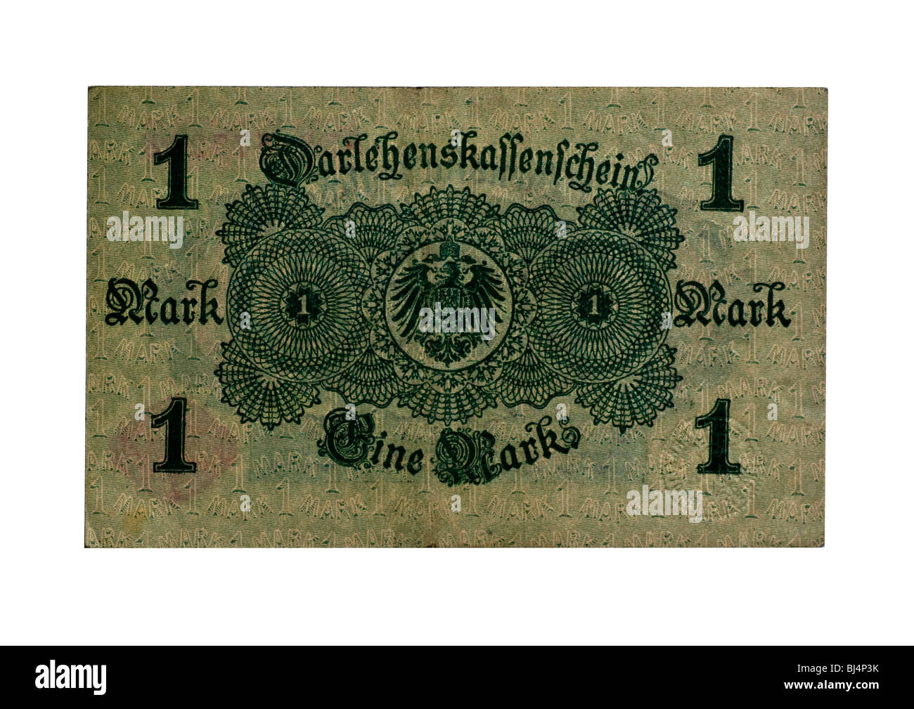 Loan Society banknote over one mark of the National Debt Office, Berlin, Germany, August 12th 1914, back - Stock Image
