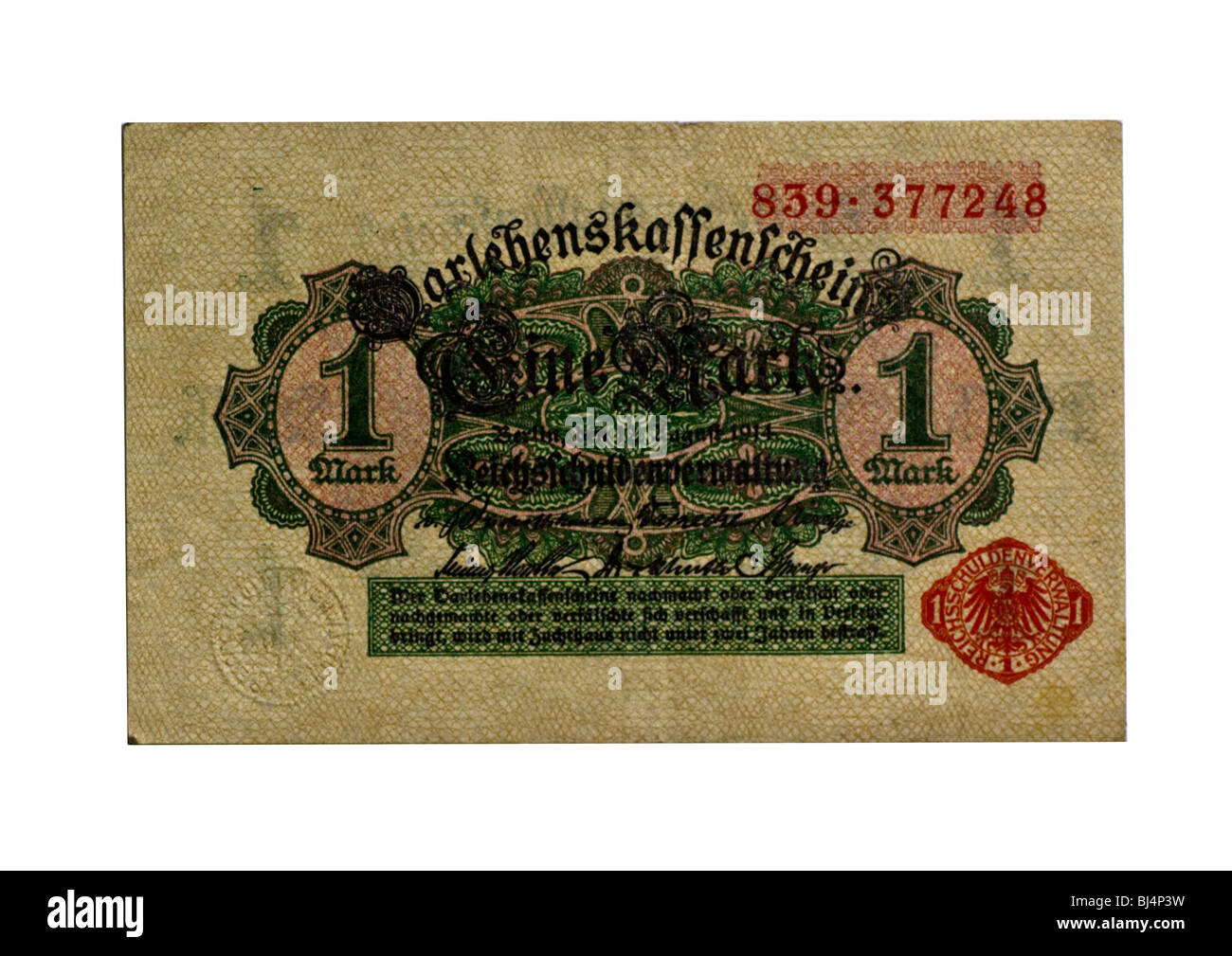 Loan Society banknote over one mark of the National Debt Office, Berlin, Germany, August 12th 1914, front - Stock Image
