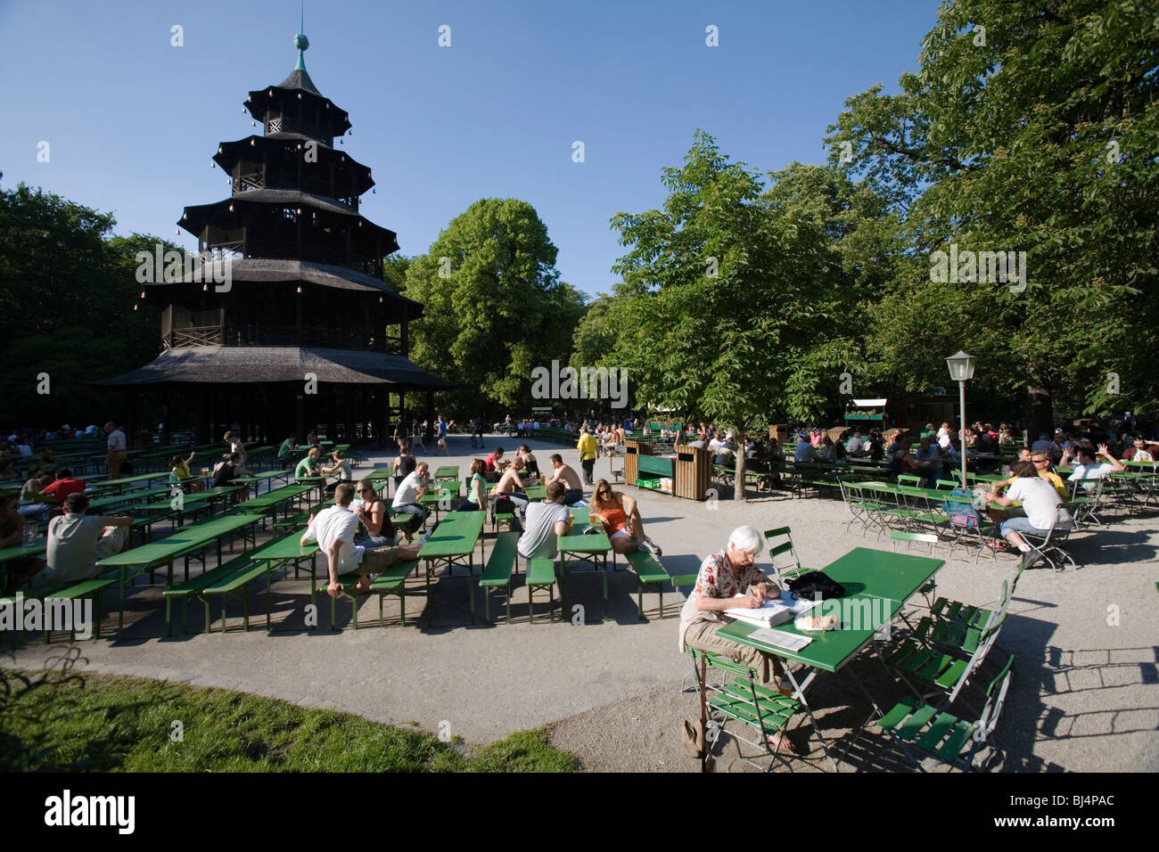 The Chinese tower Pagoda 1789 Beergarden or beergarten at the English Gardens. Munich, Germany - Stock Image