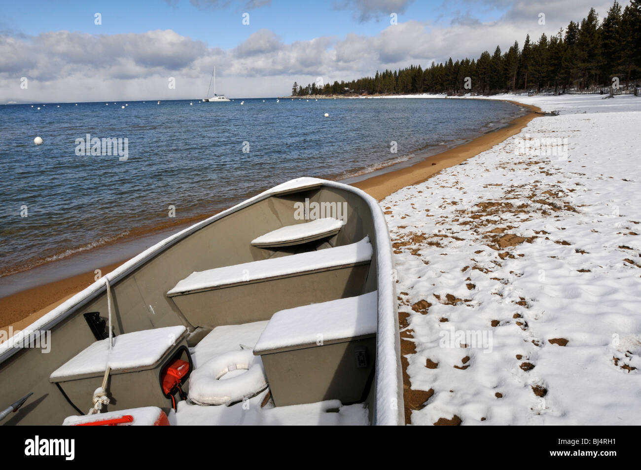 Lake Tahoe, California. The snowy shores of Lake Tahoe on a cold winter morning Stock Photo