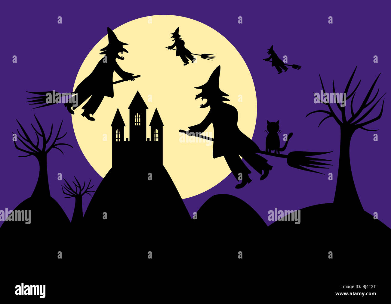 Witch sabbath - Witches flying to a castle to sabbath - Stock Image