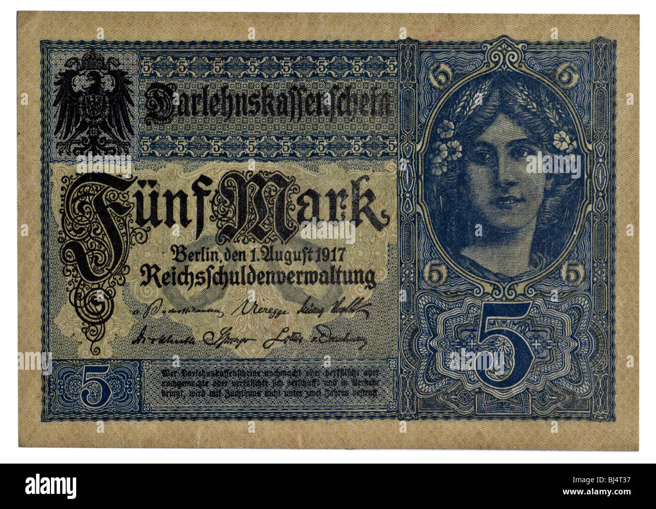 Front of the Loan Society banknote over 5 marks of the National Debt Office, Berlin, Germany, August 1st 1917 - Stock Image