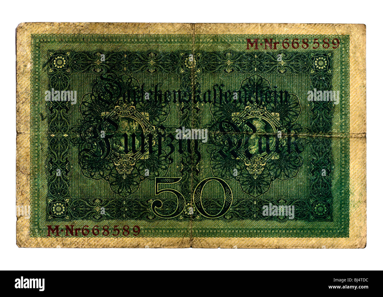 Back of the Loan Society banknote over 50 marks of the National Debt Office, Berlin, Germany, August 5th 1914 - Stock Image