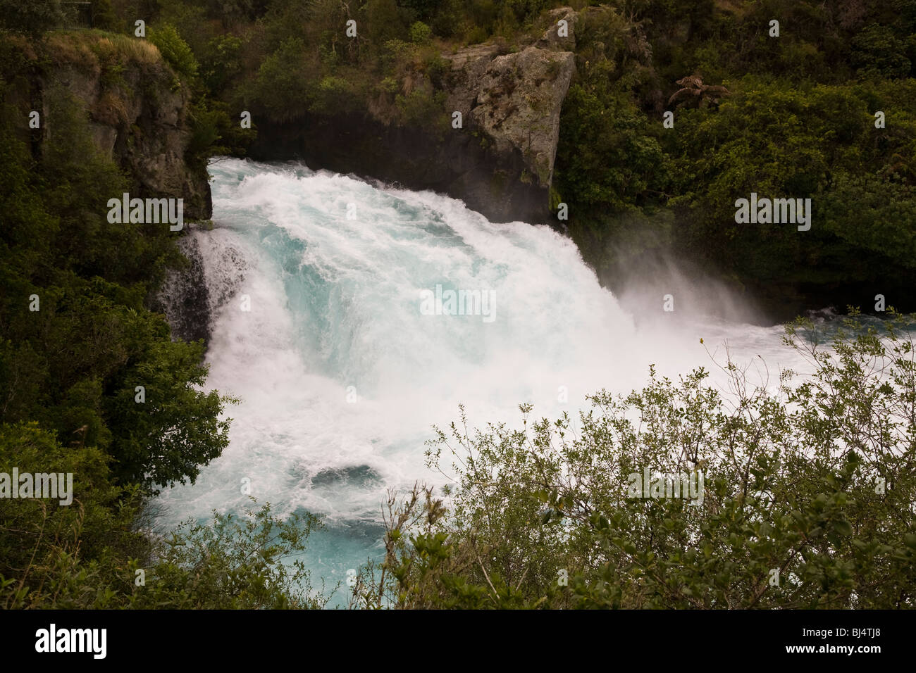 Just outside the town of Taupo the rushing Waikato River forms the famous Huka Falls New Zealand - Stock Image
