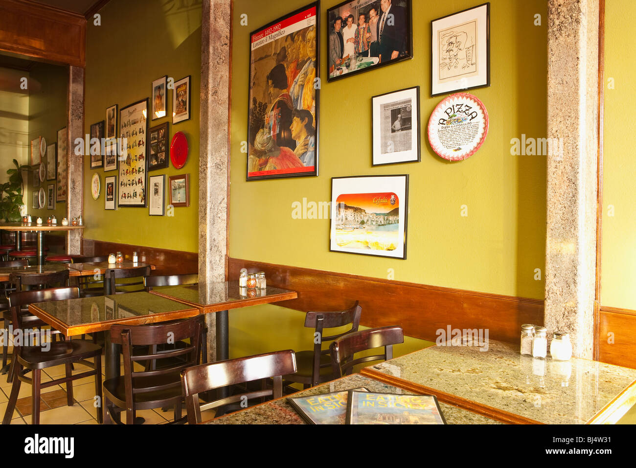 Italian restaurant interior stock photos