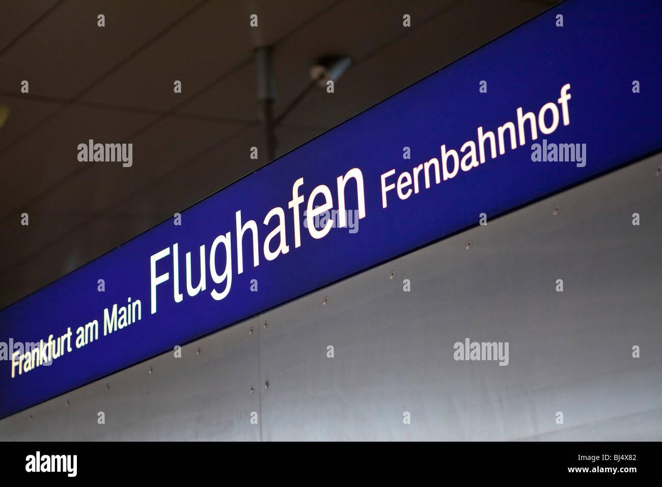 Sign Frankfurt am Main Flughafen Fernbahnhof long-distance station, at the AIRail Terminal at Frankfurt Airport, - Stock Image